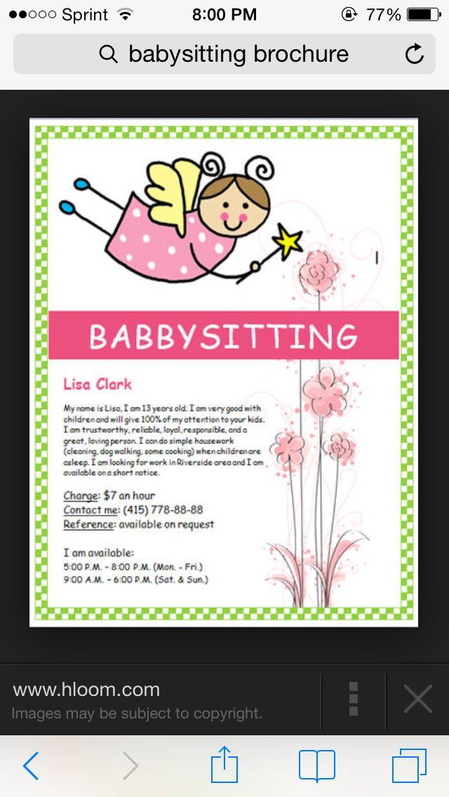 15 Best Babysitting Poster Images On Pinterest Babysitting Flyers