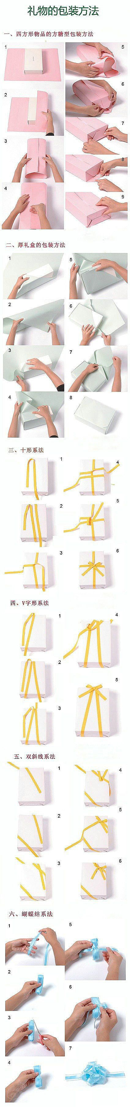 I feel like I've pinned something of this sort some time ago, but I'll repin again. 2 different ways to wrap regular boxes as gifts and a few ways to make bow ties DIY :D