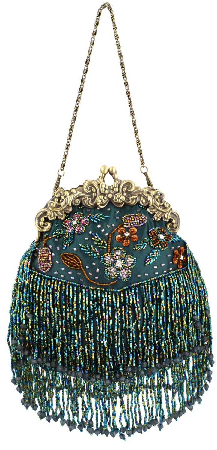MG Collection Green Vintage Seed Bead Flowers / Tassles Evening Clutch Handbag: Shoes