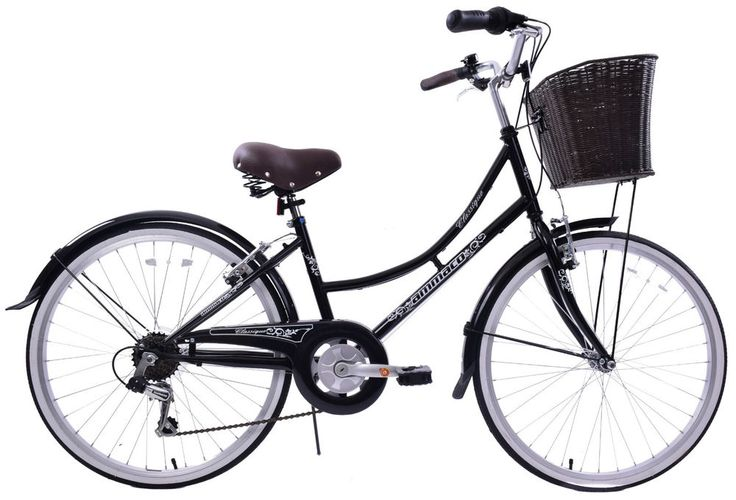 "CLASSIQUE TRADITIONAL 24"" WHEEL LADIES BIKE BASKET DUTCH STYLE BLACK - TO SUIT AGE 9  OR SMALL LADY. Fantastic value traditional style ladies town bike; with wicker style basket; low step-over frame and sit up and beg riding position. 