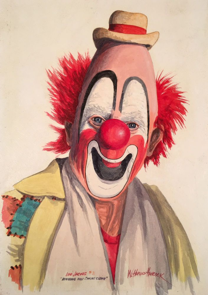 Vintage painting of Ringling Brothers clown Lou Jacobs.