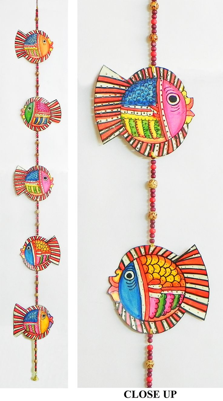 Hand Painted Hanging Fishes with Beads - Perforated Leather Crafts from Andhra Pradesh (Leather))