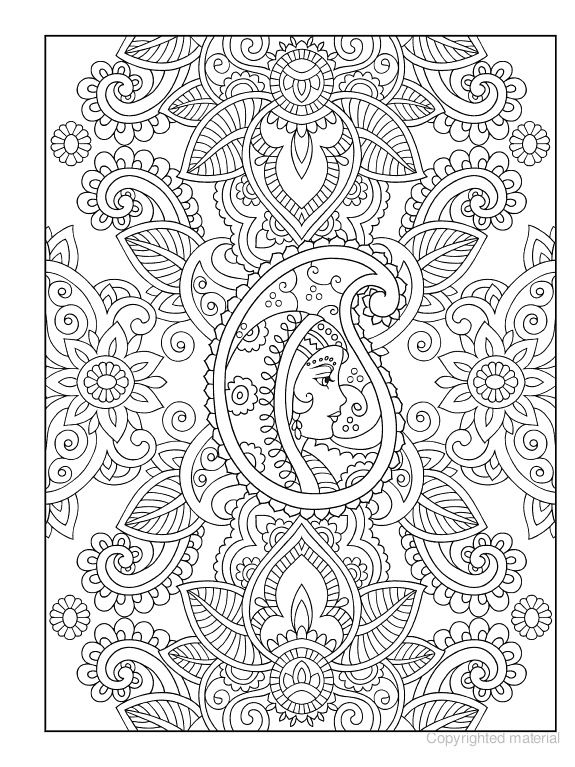 Mehndi Patterns Colouring Sheets : Free coloring page adults very intricate kleuren voor