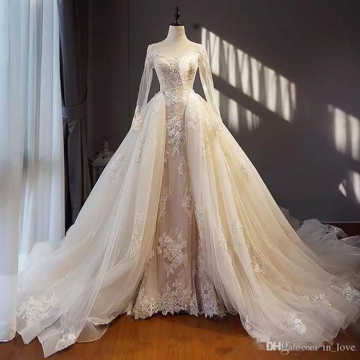 Discount Detachable Skirt Wedding Dresses See Through Long Sleeve Handmade Appliques Lace Tulle A Line Bridal Gowns Custom Size Lace Bridal Gowns Lace Wedding Gown From In_love, $139.7| Dhgate.Com