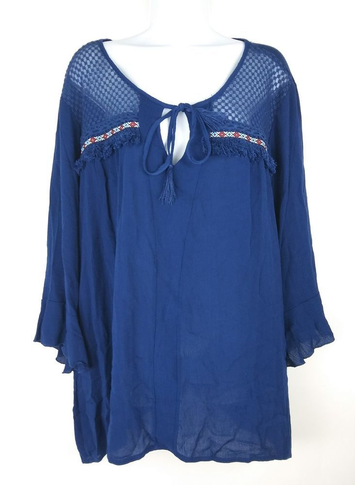 Absolutely Famous Womens Blouse Peasant Top Plus Size 3x Navy Blue