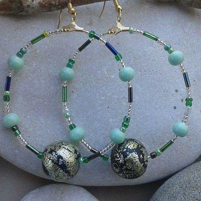#hooks #beads #polymerclayjewellery #summerjewelry #greenandgold #handmadejewellery #madeingreece #womenswear #unique# statement# greekjewellery #greekdesigners #madewithlove #mepolymeraki