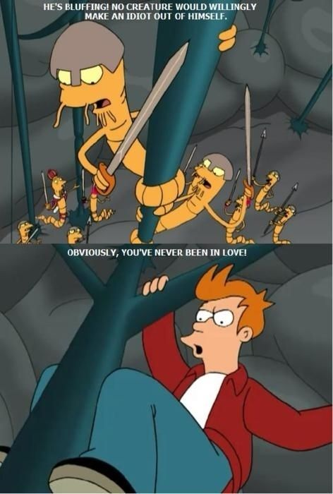 """""""Parasites Lost"""": When Fry fights the worms in his brain for Leela. 