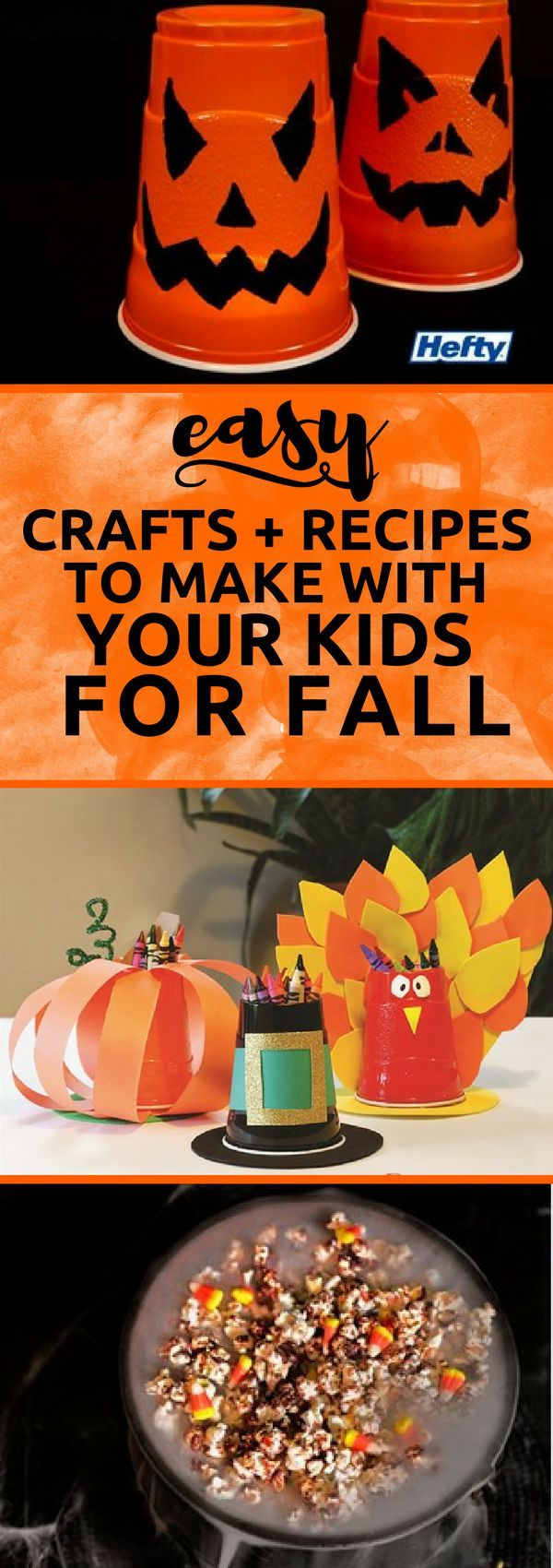 Easy Halloween crafts and recipes to make with your kids this fall! #ad #Hefty