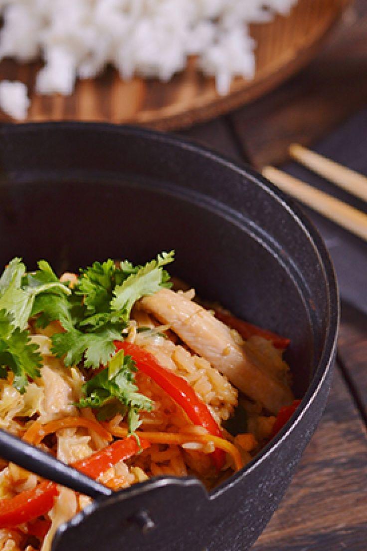 Τηγανητό ρύζι με κοτόπουλο και λαχανικά