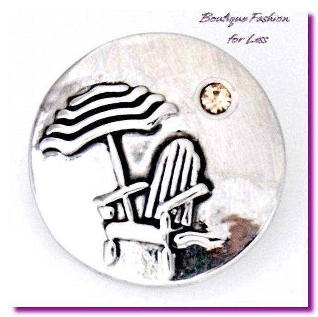 Snaps Snap Charm Jewelry Silver Nautical Beach Chair Vacation Crystal #Unbranded #SnapsSnapCharmDesigneredInspired