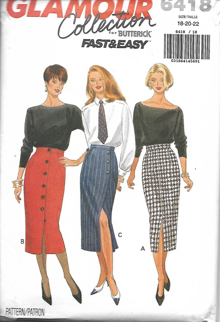Butterick 6418 Glamour Collection Misses/Miss Petite Pencil Skirt Sewing Pattern, Size 18-20-22, UNCUT by DawnsDesignBoutique on Etsy