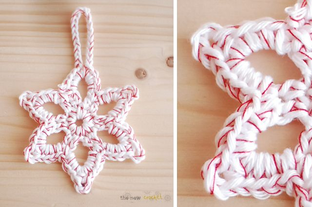 Crocheted snowflake makes a nice ornament or gift tag.