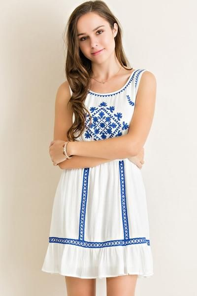 Free Bird Embroidered Dress (White)