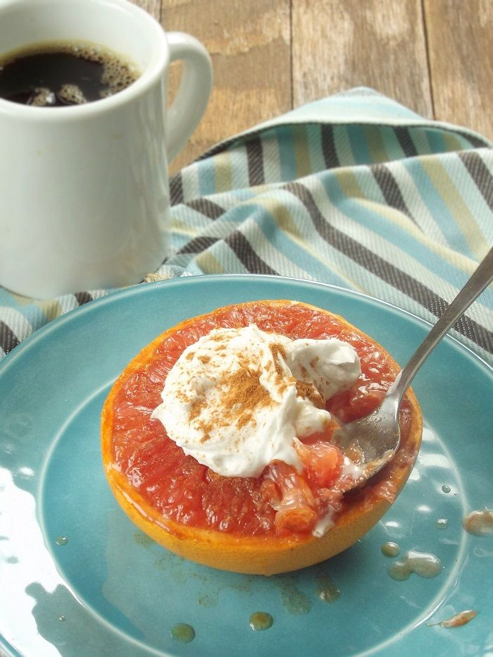 Brown Sugar Broiled Grapefruit with Whipped Coconut Cream