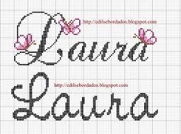 Resultado de imagem para nomes Ana Laura em ponto cruz