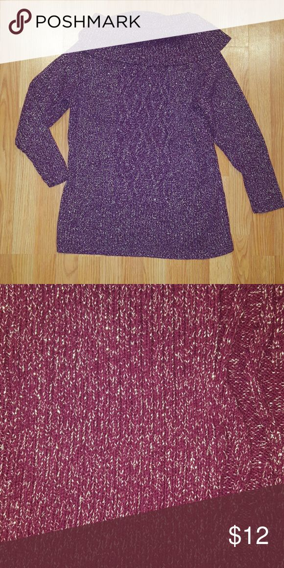 Women's cowl neck sweater Gorgeous plum colored sparkling sweater. Super comfortable Style & Co Tops Sweatshirts & Hoodies