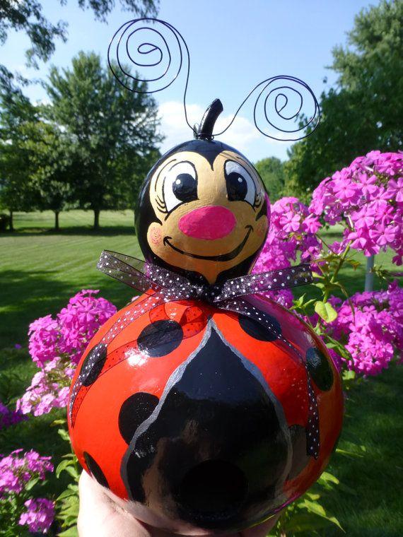 Ladybug Birdhouse Gourd Art Designs by by DesignsbySugarbear