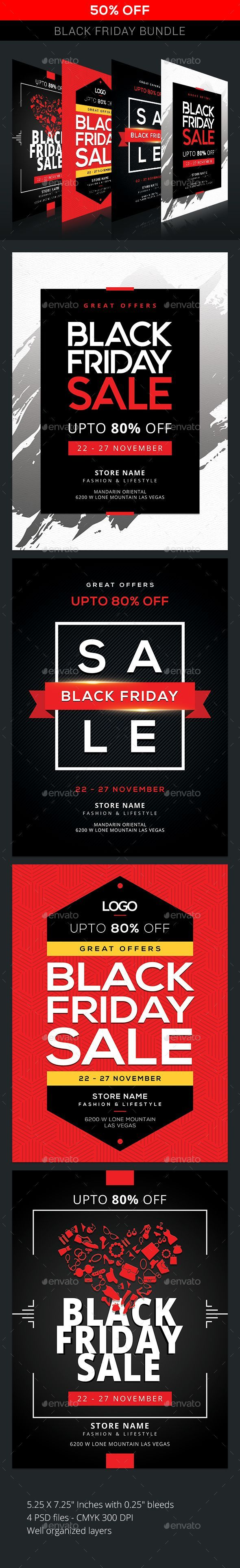 4 Black Friday Flyer Templates PSD, Black