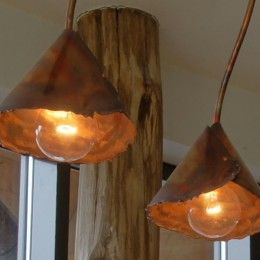 Design plafondlamp koper kelk grof ruig stoer handgemaakt
