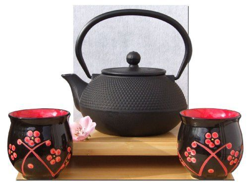 Red Plum Blossom tazze X 2  Ghisa nero hobnail teiera bollitore 0,6 litro di Gifts Of The Orient GOTO, http://www.amazon.it/dp/B009KKHQB2/ref=cm_sw_r_pi_dp_agHLtb13Y04E8