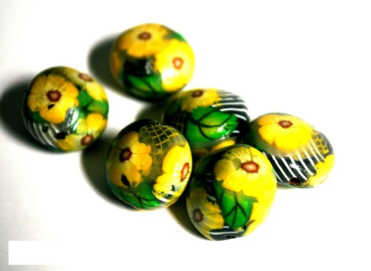 Handmade Polymer Clay Beads, Polymer Clay Beads for Sale, Jewelry Making Supplies, Lentil Beads