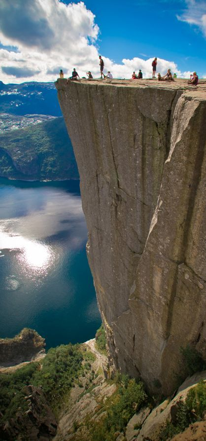 Pulpit Rock (Preikestolen), Norway It looks scary & exciting @ the same time. I am not afraid of heights, are you?!?!?