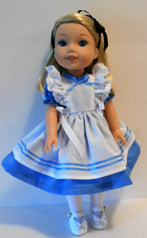 Blue and white pinafore dress fits Wellie by KathyAnneDesigns