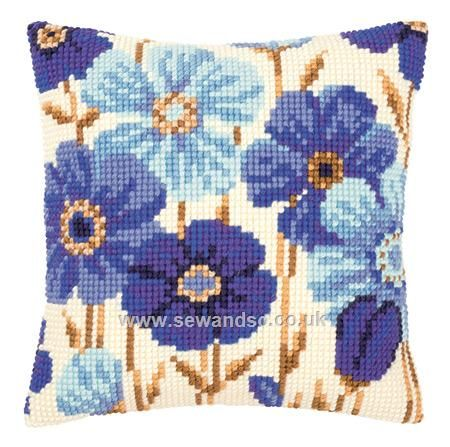 Buy Blue Flowers Cushion Front Chunky Cross Stitch Kit online at sewandso.co.uk