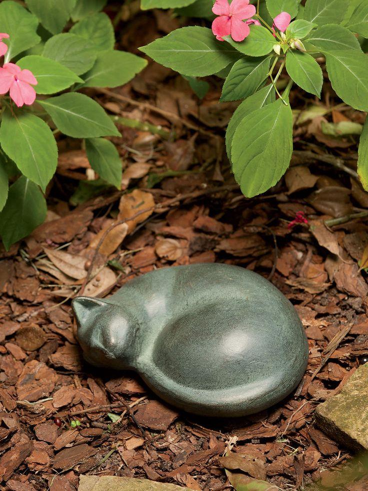 Cat Statue - Sleeping Cat Statue - Metal Cat Sculpture Memorial