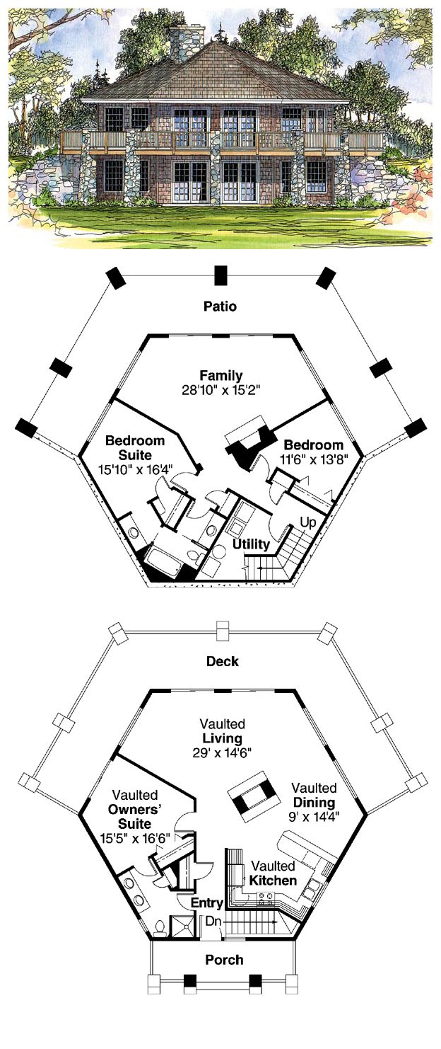 16 best octagon style house plans images on pinterest for Octagonal house designs