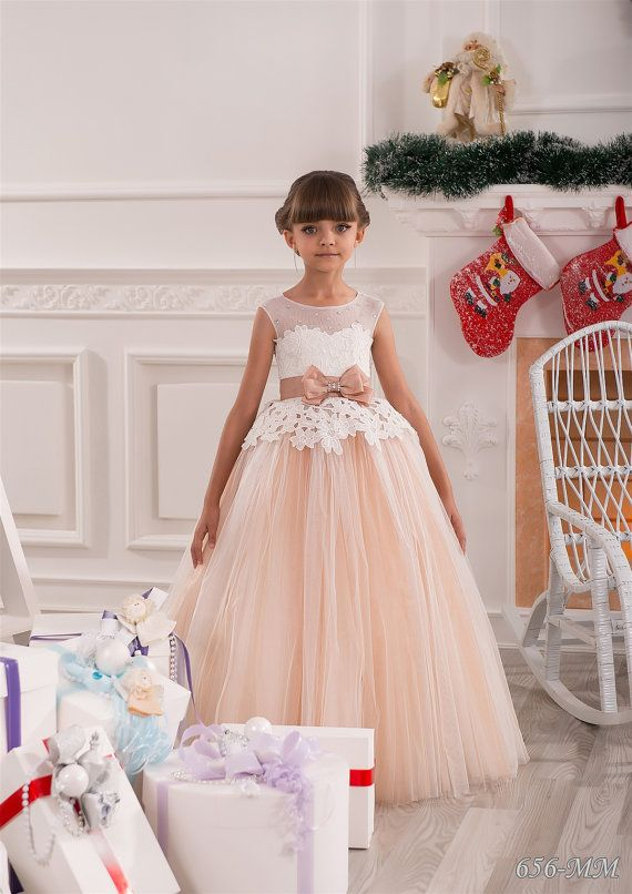 Ivory and Beige Flower Girl Dress Birthday by KingdomBoutiqueUA