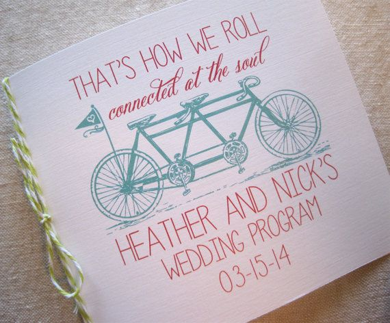 Tandem Bike Wedding Program by theoriginalpear on Etsy, $1.75