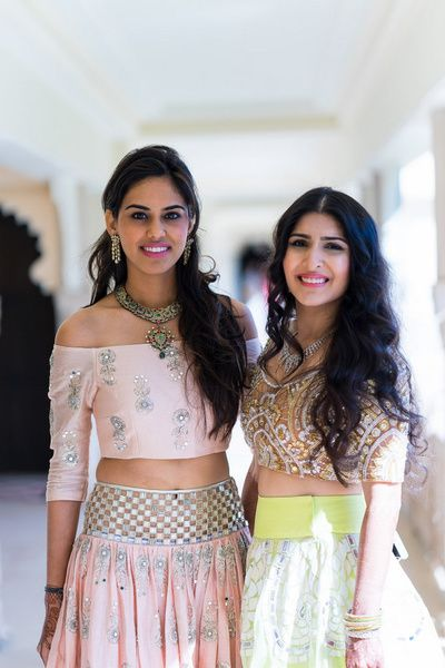 Pastel pink offshoulder lehenga blouse , payal singhallehenga , lime green skirt, mehendi outfits, sister of the bride outfits , friends outfits