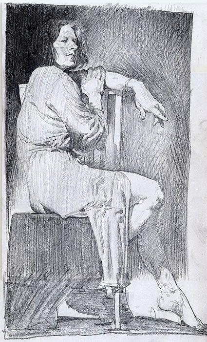Life drawing of a human figure - sitting woman.