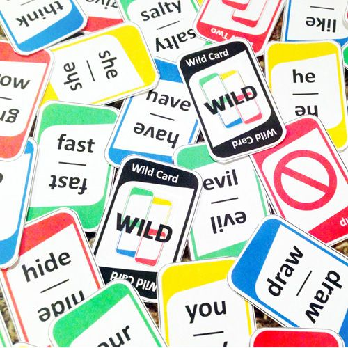 "Teach Parts of Speech with this ""UNO"" style card game! Includes verbs, nouns, pronouns and adjectives. http://bestteacherblog.com/parts-speech-game-plays-like-uno/"
