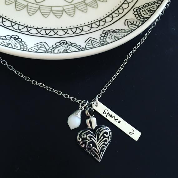 718a7993f92c8 Cremation urn necklace / Heart urn / Remembrance / Memorial jewelry ...