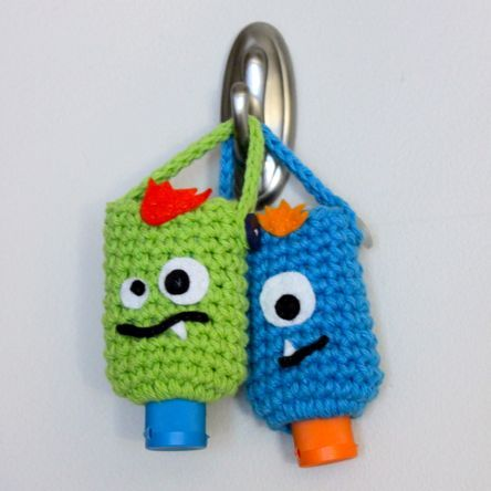 Monster Hand Sanitizer Cozies: free crochet pattern