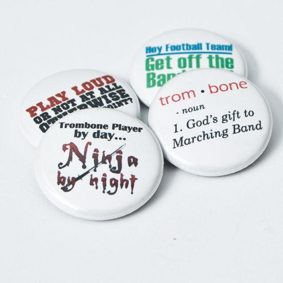 Trombone Ninja plus three one inch Marching Band by hornandcastle, $5.00