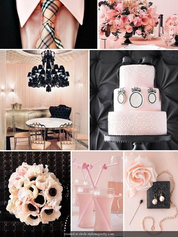 black and pink cameo wedding