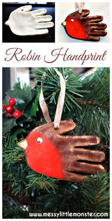 Salt dough handprint robin ornament. Great Christmas keepsake for toddlers, preschoolers, older kids.