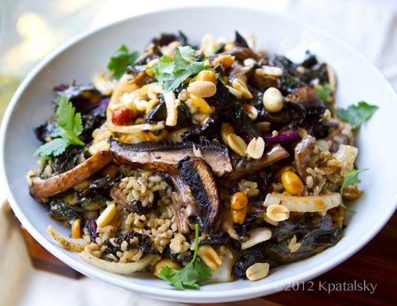 Spicy-Peanut Portobello Kale Rice Bowl. - I suggest using pine nuts ...
