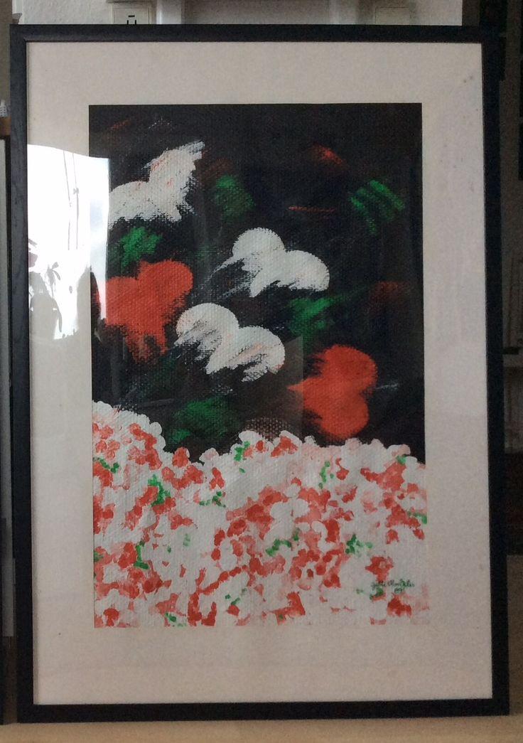 """Fra serien """" Hjernespind"""" IV, fra 1988/89 Akryl på glasvæv. Med passepartut 70 x 100 cm"""