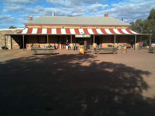 Outback Aussie pub - a good cold beer in the middle of a desert at the Prairie Hotel at Parachilna, SA