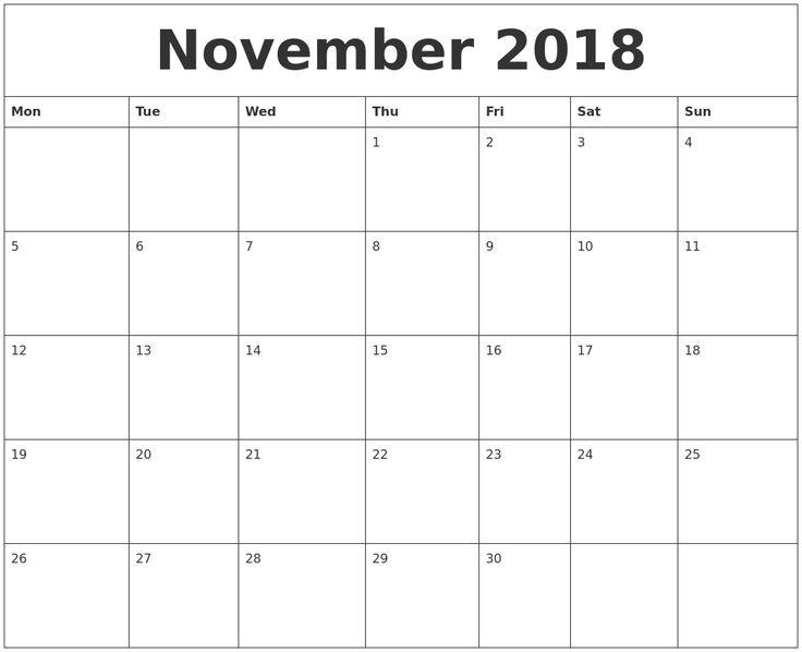 November Calendar For 2018
