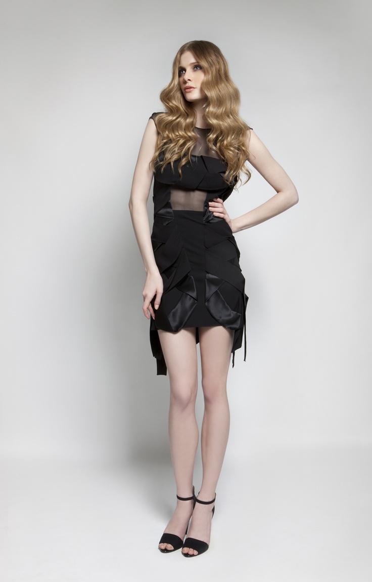 CHRISTOS COSTARELLOS AW 12-13 Crepe+Silk Satin Short Dress.