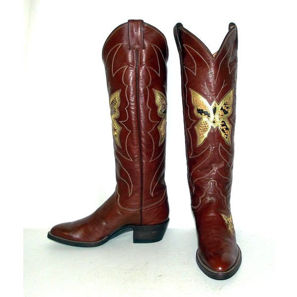 Tall Vintage Womens Cowboy Boots Snakeskin Butterfly design Justin... (160 CAD) ❤ liked on Polyvore featuring shoes, boots, butterflies, python cowboy boots, tall cowboy boots, tall cowgirl boots, vintage western boots and snakeskin cowboy boots