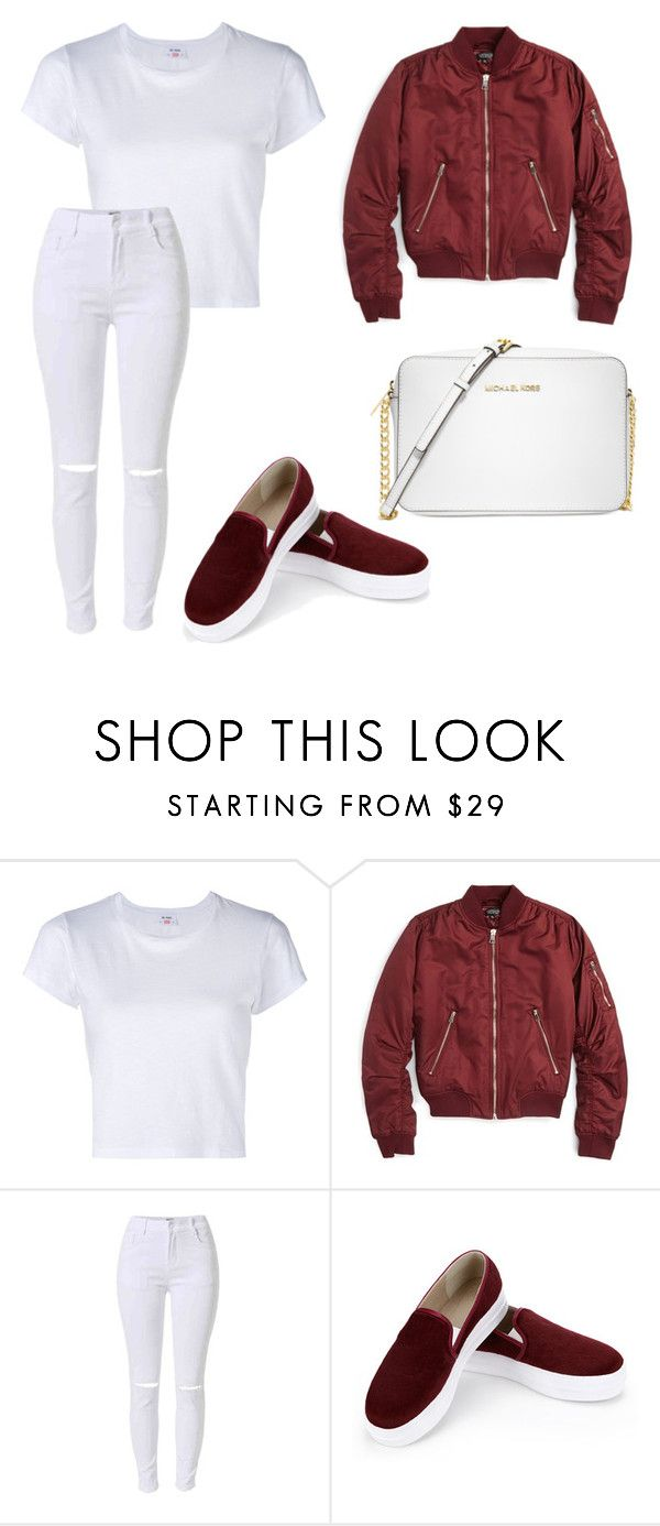 """Simple white and maroon with bomber jacket"" by dessyaramadhanti ❤ liked on Polyvore featuring RE/DONE, Topshop and Michael Kors"