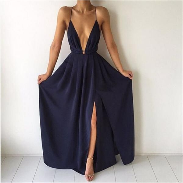 ♡ Split Maxi Dress Dark Blue Deep V neck Evening Party Dress ♡ - Crystalline