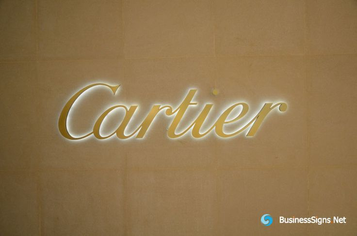 3D LED Backlit Signs With Brushed Gold Plated Letter Shell For Cartier. We produce for one Cartier store, screw mounted on the wall, with stainless steel tube on the screw , leave the wall 20mm. If you need to custom signs like this, please click the image then fill out the form and tell us your needs now.