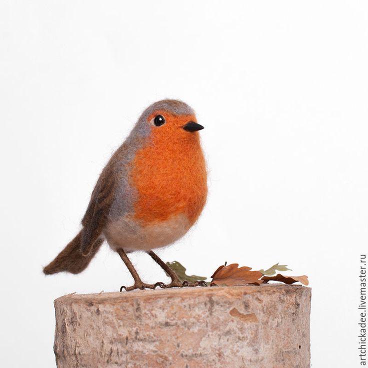 Купить Малиновка (Зарянка) - интерьерная игрушка - оранжевый, птица, малиновка, Валяние, валяная игрушка